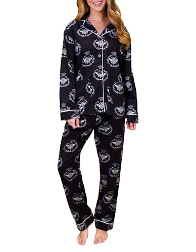 Pj Salvage Queen Bee Flannel Pajamas-BLACK-Small