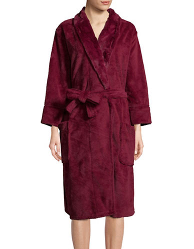 Pj Salvage Silky Shawl Robe-BURGUNDY-X-Large