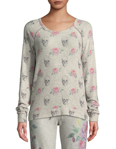 Pj Salvage Skulls and Roses Pajama Top-GREY-Large