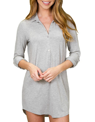 Pj Salvage Collar Hi-Lo Nightshirt-HEATHER GREY-Small