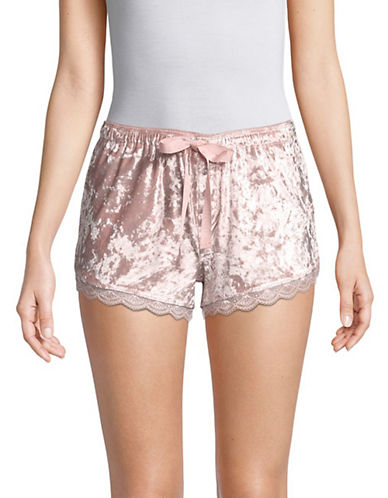 Pj Salvage Crushin It Lace-Trimmed Velvet Shorts-BLUSH-X-Large