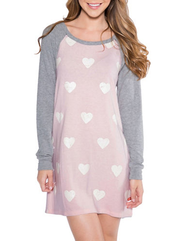 Pj Salvage Love Revolution Heart-Print Sleepshirt-BLUSH-Small