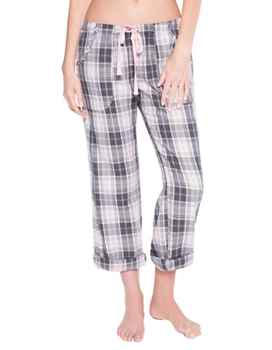 Pj Salvage Love Revolution Plaid Cotton-Blend Pants-GREY-Large 89794001_GREY_Large
