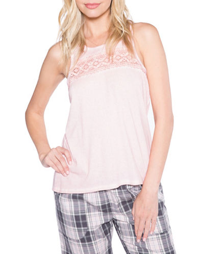 Pj Salvage Love Revolution Laced Tank Top-BLUSH-Large