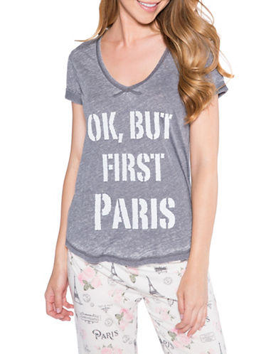 Pj Salvage Love Revolution Ok But First Paris Tee-GREY-Small