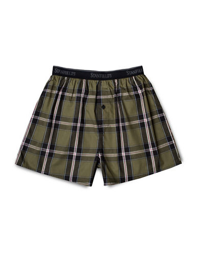StanfieldS Plaid Woven Boxers-BLACK-Large