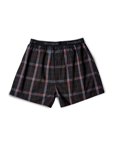 Stanfield'S Plaid Woven Boxers-BEIGE-Small