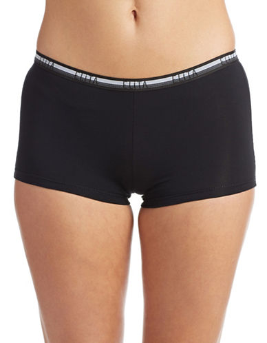 Elita Pima Cotton Stretch Boy Shorts-BLACK-Medium