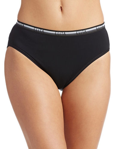 Elita Stretch Cotton Hi-Cut Panty-BLACK-X-Large