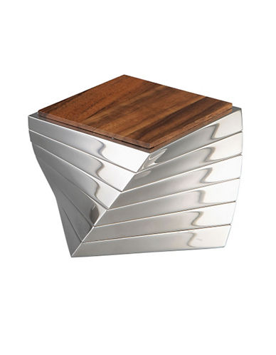 Nambe Twist Wood And Alloy Coasters   Set Of 6-WOOD/SILVER-One Size