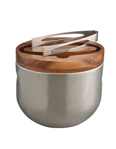 Nambe Mikko Ice Bucket with Tongs-SILVER-One Size