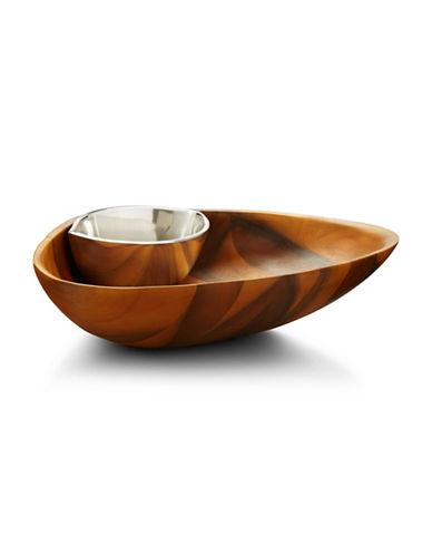 Nambe Clam Chip and Dip Bowl-BROWN-11