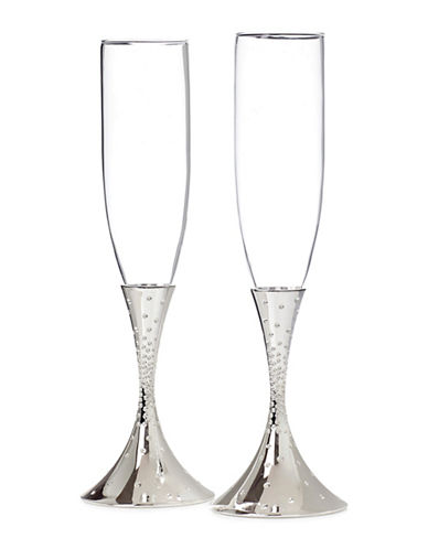 Nambe Dazzle Pave Toasting Flutes-SILVER-One Size