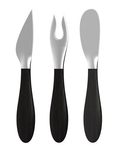 Nambe Remo Three-Piece Cheese Knife, Fork and Spreader Set-ESPRESSO-One Size