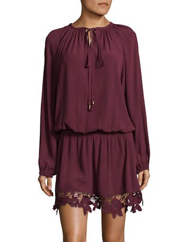 Muche Et Muchette Lace Trim Blouson Dress-BURGUNDY-One Size