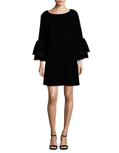 Muche Et Muchette Tiered-Sleeve Velvet Sheath Dress-BLACK-X-Small/Small