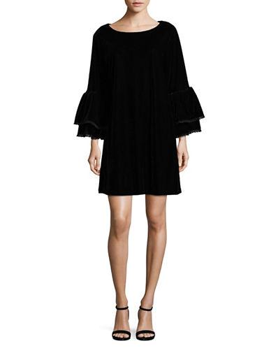 Muche Et Muchette Tiered-Sleeve Velvet Sheath Dress-BLACK-Medium/Large