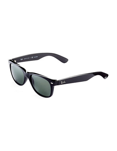 Ray-Ban 55mm Square Wayfarer Sunglasses-SHINY BLACK (901/58) (POLARIZED)-55 mm