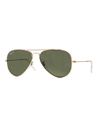 Ray-Ban Original Classic Aviator Sunglasses-ARISTA GOLD/GREY (001/58) (POLARIZED)-58 mm