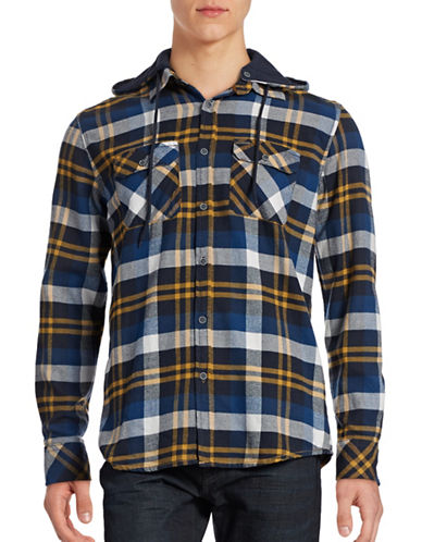 Point Zero Plaid Flannel Twill Hoodie Shirt-NAVY-Medium