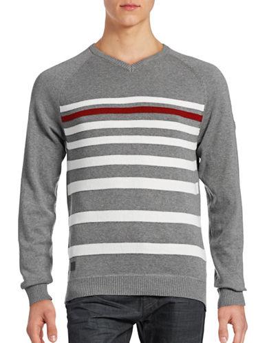 Point Zero V-Neck Stripe Knit Raglan Sweater-GREY MIX-X-Large 88642472_GREY MIX_X-Large
