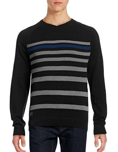 Point Zero V-Neck Stripe Knit Raglan Sweater-BLACK-X-Large