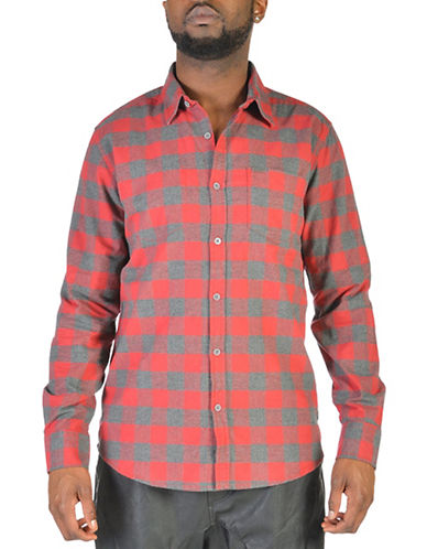 Point Zero Checkered Cotton Flannel Shirt-RED-Large