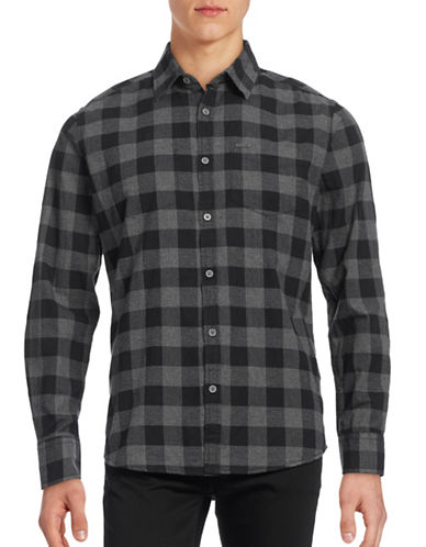 Point Zero Checkered Cotton Flannel Shirt-BLACK-Small