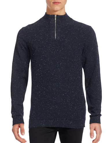 Point Zero Speckled Mock Zip Sweater-BLUE-Medium