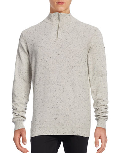 Point Zero Speckled Mock Zip Sweater-NATURAL-Medium