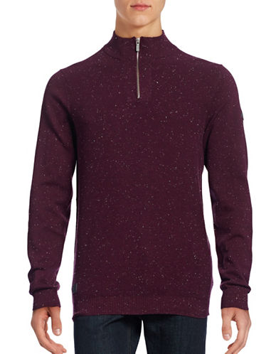 Point Zero Speckled Mock Zip Sweater-RED-Medium