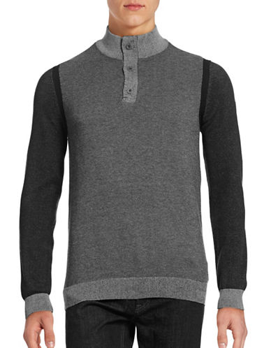 Point Zero Buttoned Quarter-Zip Sweater-GREY-X-Large
