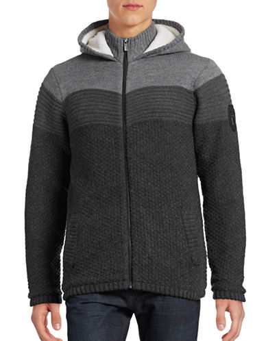 Point Zero Full-Zip Block Stripe Sweater-GREY-Large 88739190_GREY_Large