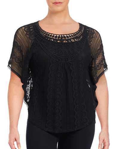 Point Zero Curvy Plus Crochet and Lace Caftan Top-BLACK-3X plus size,  plus size fashion plus size appare