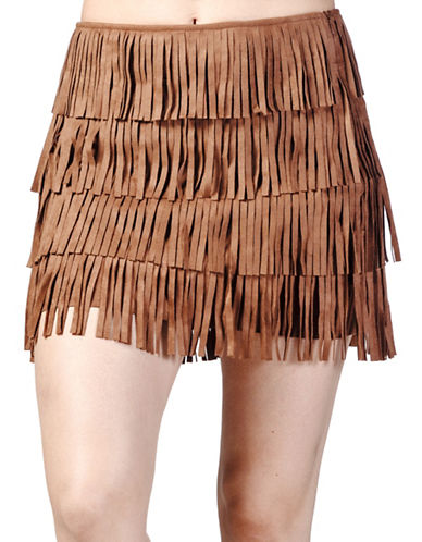 California Moonrise Vegan Suede Fringed Miniskirt-BROWN-Small plus size,  plus size fashion plus size appare
