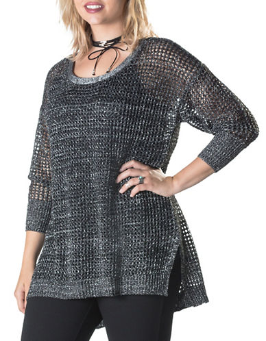 Point Zero Curvy Plus Loose Knit Metallic Sweater-SILVER-1X