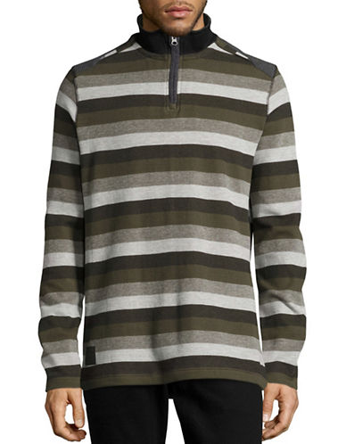 Point Zero Striped Quarter-Zip Top-BLACK-Large