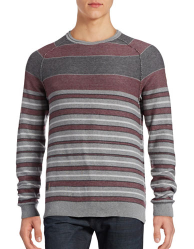 Point Zero Stripe Cotton Sweater-RED-X-Large