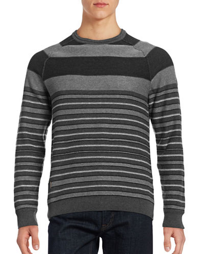 Point Zero Stripe Cotton Sweater-GREY-Large 88739157_GREY_Large