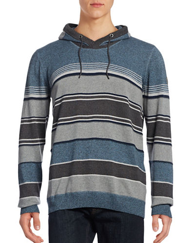 Point Zero Stripe-Stitch V-Neck Hoodie-BLUE-Small 88739164_BLUE_Small