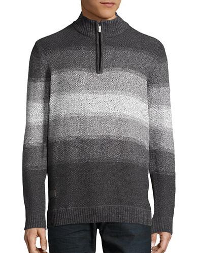 Point Zero Striped Knit Sweater-GREY-Medium