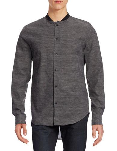 Mattson Elongated Baseball Collar Shirt-MID GREY-Small