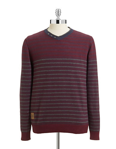 Point Zero Colourblock Striped Button Neck Sweater-WINE/NAVY-X-Large