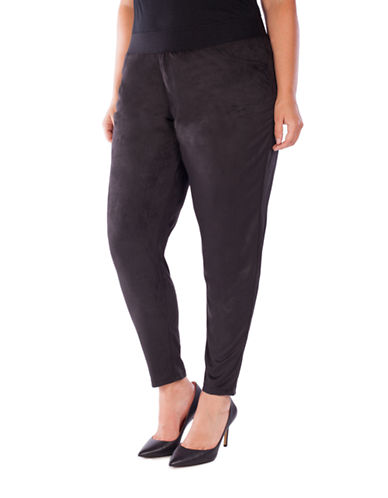 Point Zero Curvy Plus Faux Suede Pull-On Pants-BLACK-1X