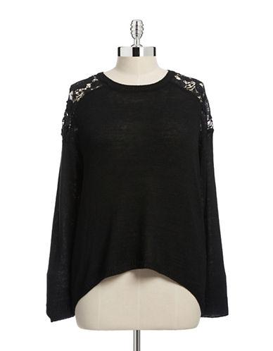 Point Zero Curvy Plus Peekaboo Knit Sweater-BLACK-3X