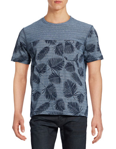 Point Zero Striped Palm Leaves T-Shirt-INK-Small