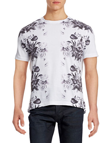 Point Zero Floral Crew Neck T-Shirt-WHITE-X-Large