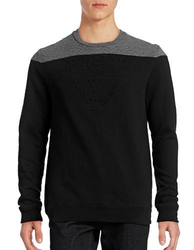 Point Zero Embossed Combo Block Sweatshirt-BLACK-Large 88491414_BLACK_Large