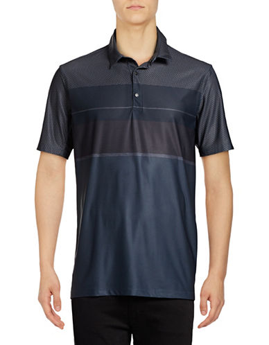 Point Zero Print Blocked Four-Way Stretch Polo-BLACK-Small