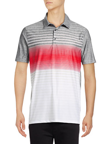 Point Zero Stripe Blocked Four-Way Stretch Polo-RED-Medium
